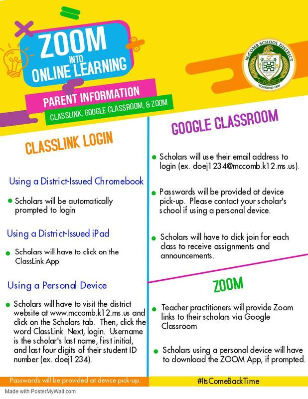 Zoom into online learning! Parent Information, Classlink, Google Classroom and Zoom. #ItsComeBackTime
