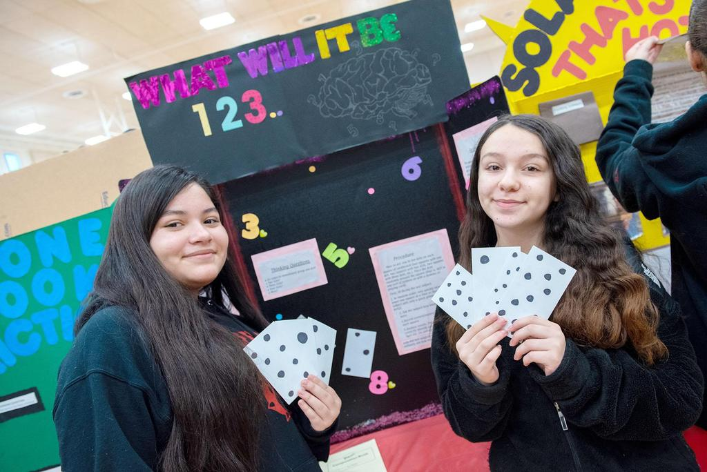 Two students hold up large cards with dots on them