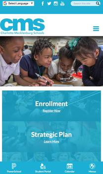 Charlotte-Mecklenburg School District website on mobile