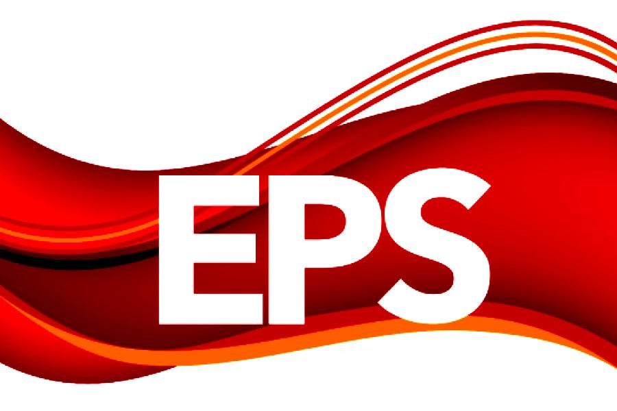 EPS logo, crimson and gold waves