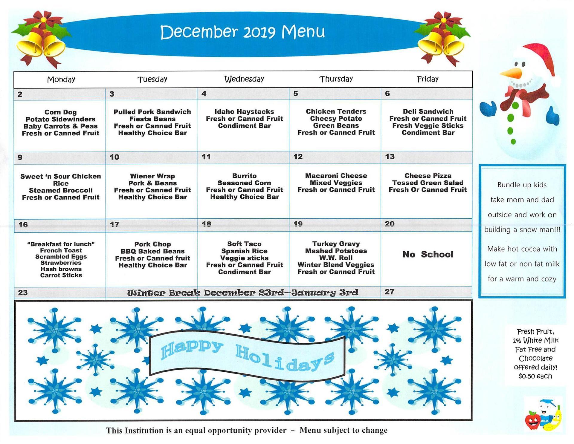 December 2019 Elementary Lunch Menu English