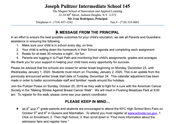 October's Message From the Principal Featured Photo
