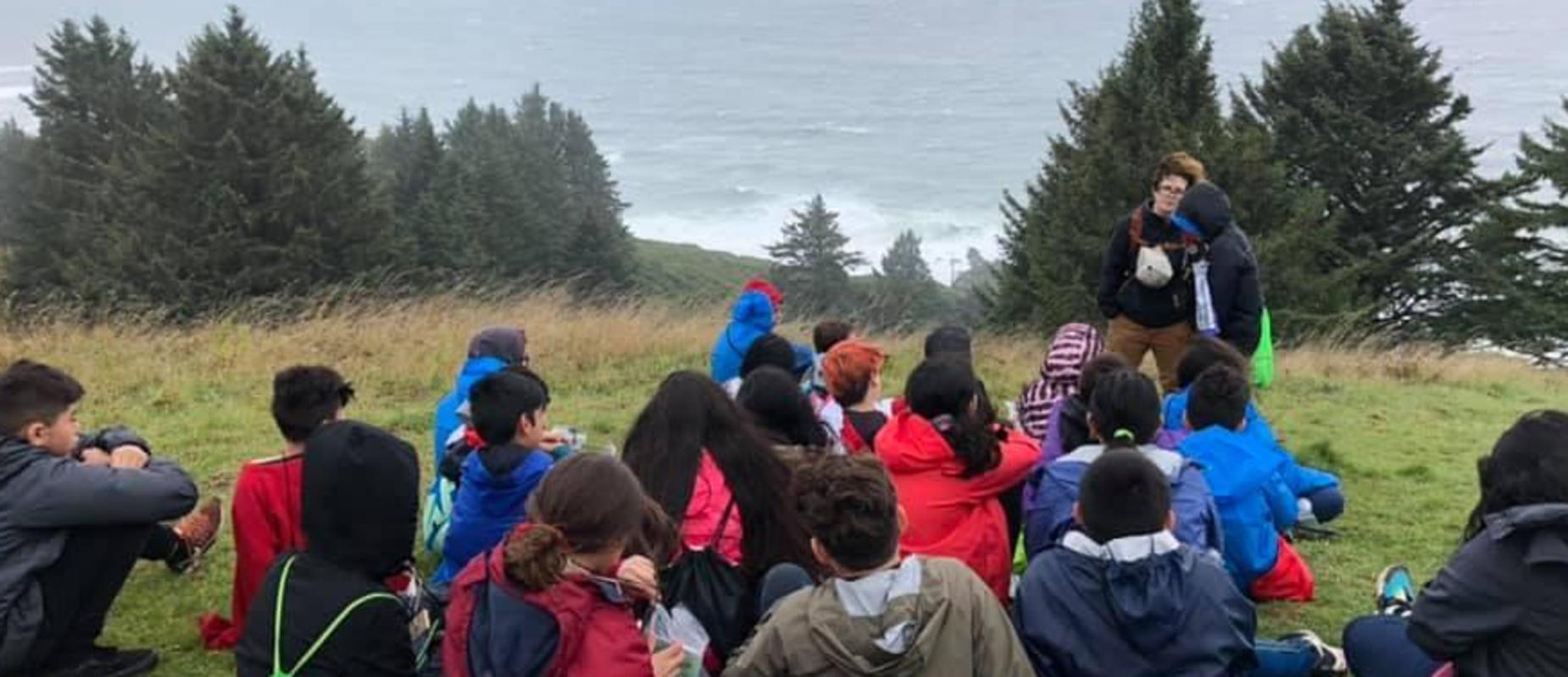 Students overlooking the coast at Outdoor School