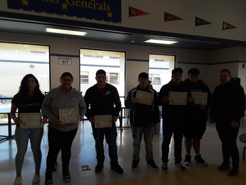 Mr. Butler's student's receive their awards