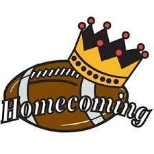 Homecoming with football and crown