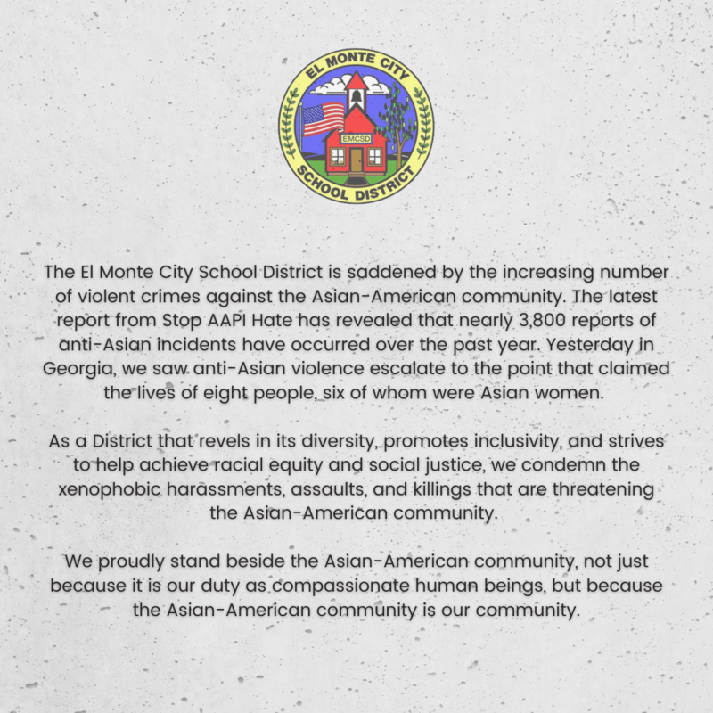 Graphic of EMCSD statement against Anti-Asian hate