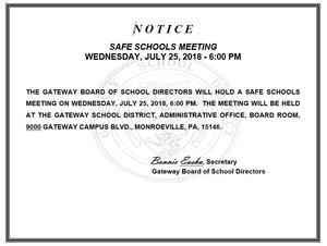 Notice of Safe Schools Meeting