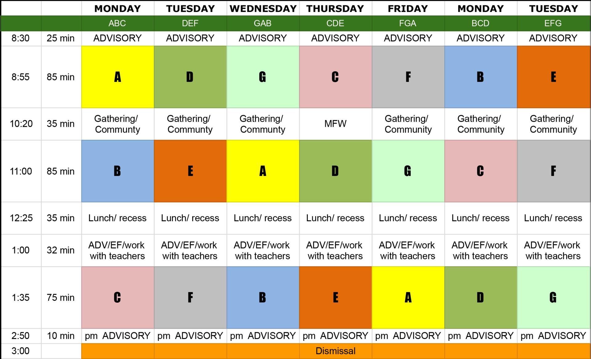 DVFriends Middle School Schedule