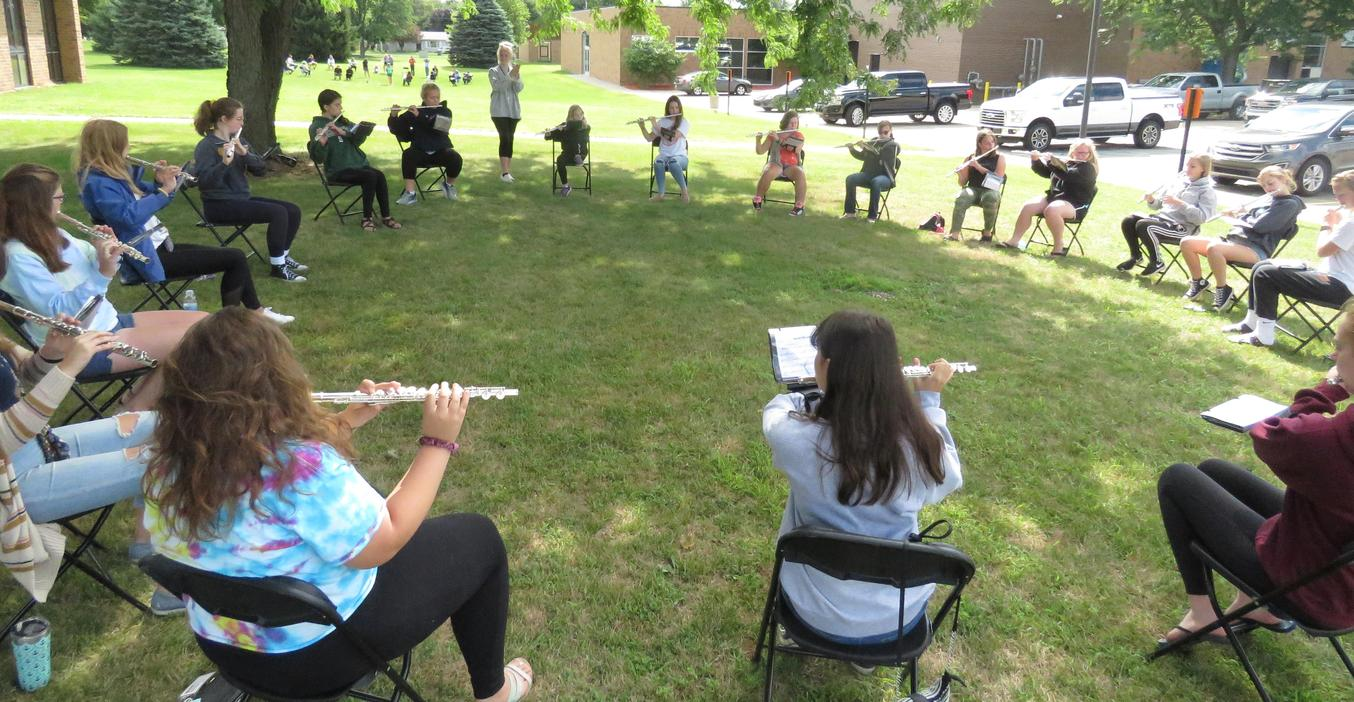 TKHS band camp was held outside and social distanced as much as possible.