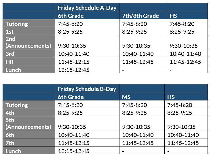 Secondary Friday Schedules