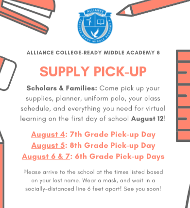 Supply Pick-up: See dates to pick-up your schedule, supplies, & technology (for all new students)! Thumbnail Image