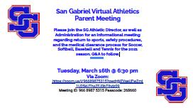 San Gabriel Virtual Athletics Parent Meeting II Featured Photo