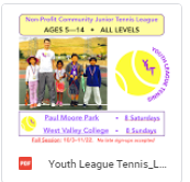 Youth League Tennis Flyer