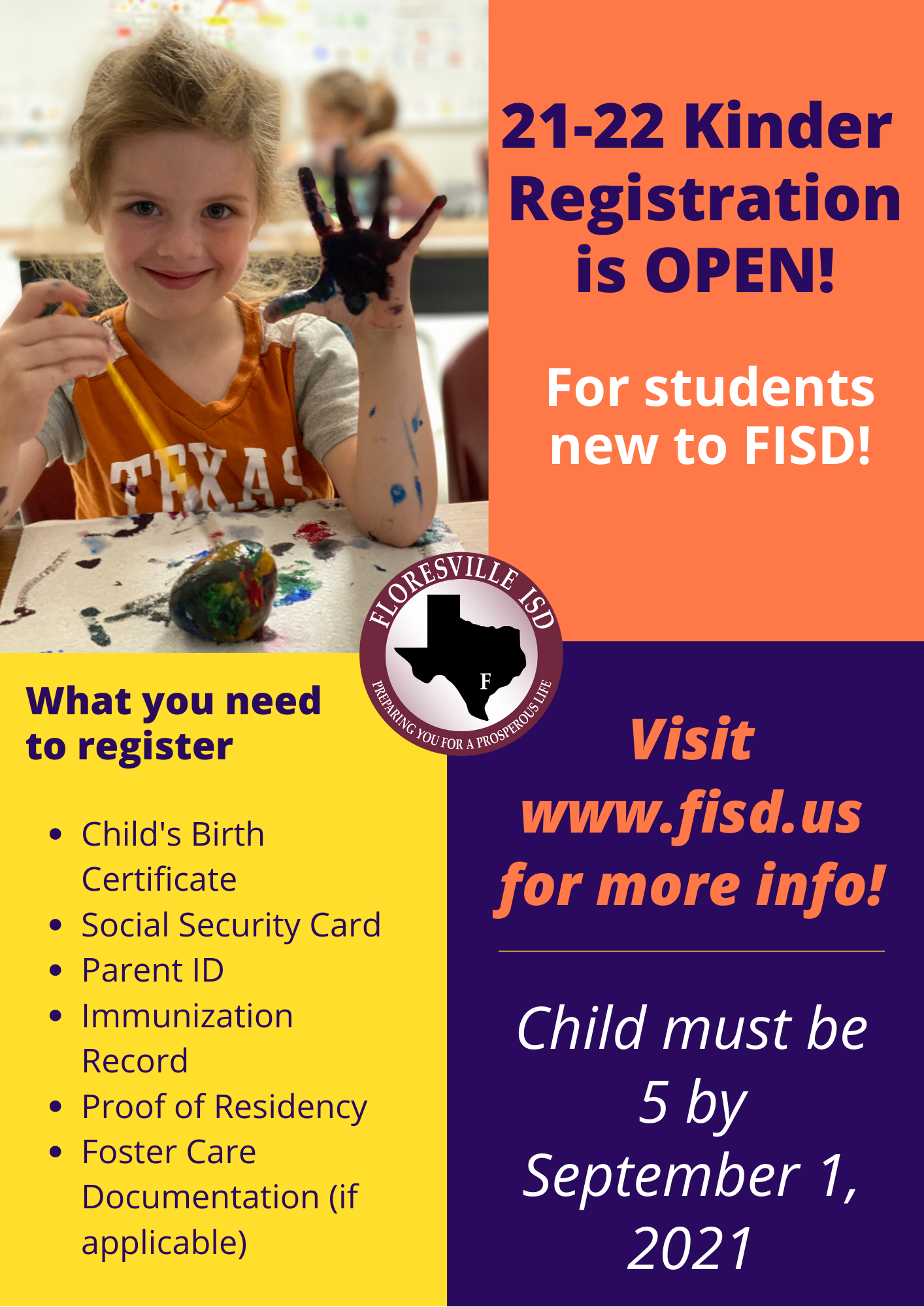 Kindergarten Registration Flyer with photo of child with paint on its hand.
