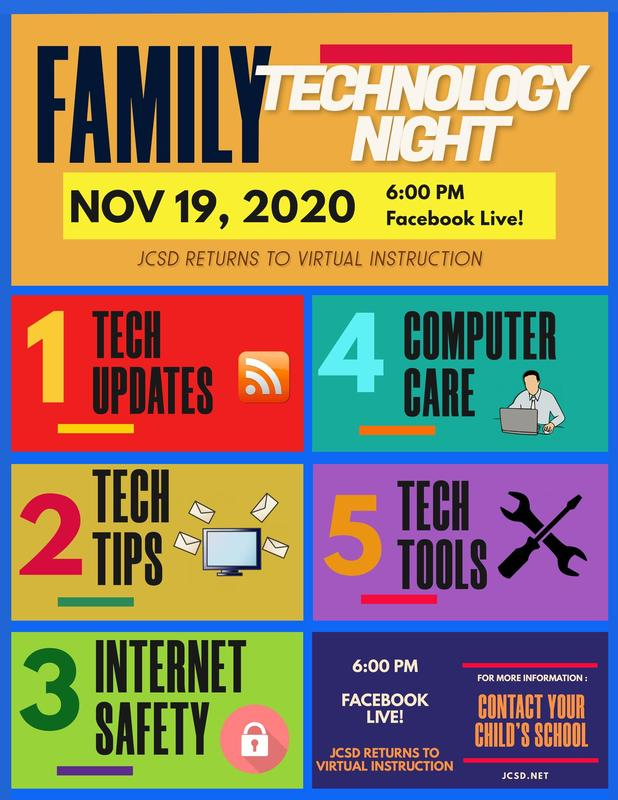 JCSD Family Tech Night, November 19, 2020 @ 6:00PM Featured Photo