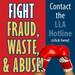 Graphic that says Report Fraud, Wast & Abuse
