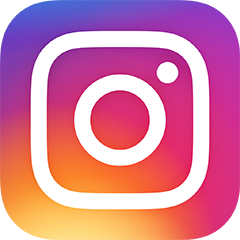Instagram Logo--white outline of an old polaroid camera over an ombred circle that goes from purple to orange to yellow