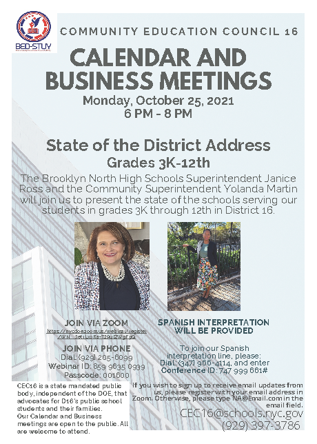 The State of the District Address on Monday, October 25, 2021