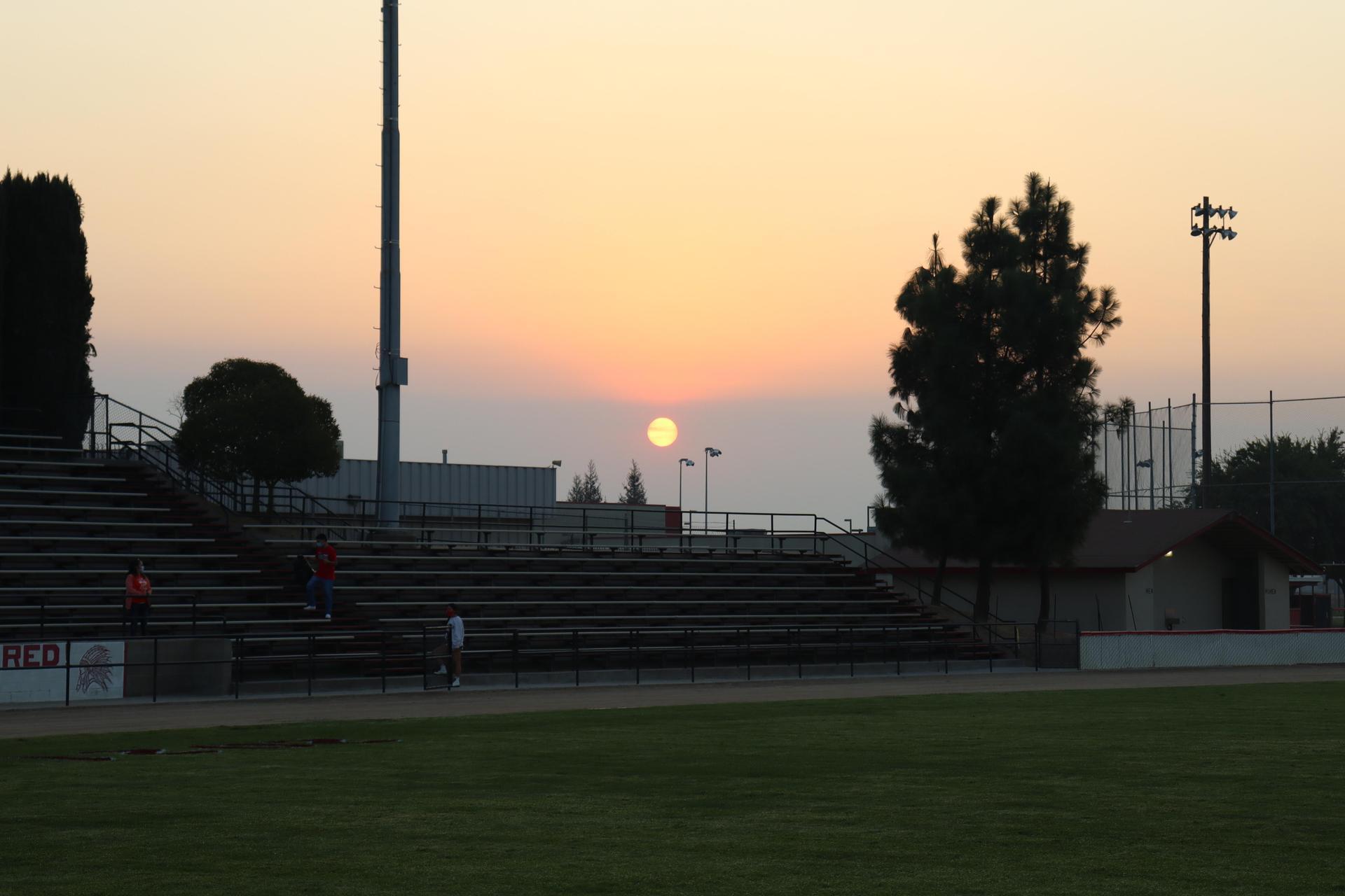 sunrise through the smoky air