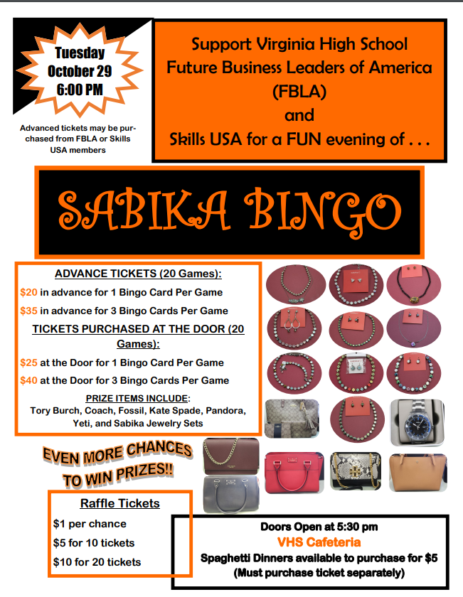 Sabika Bingo Fundraiser October 29th at 6pm at VHS Cafe.