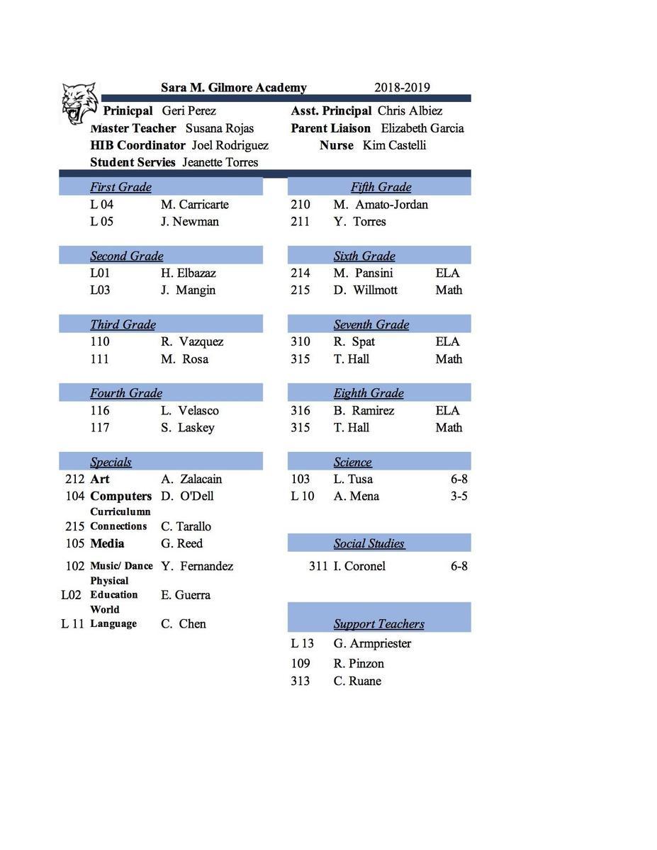 Gilmore STaff List 2018-2019