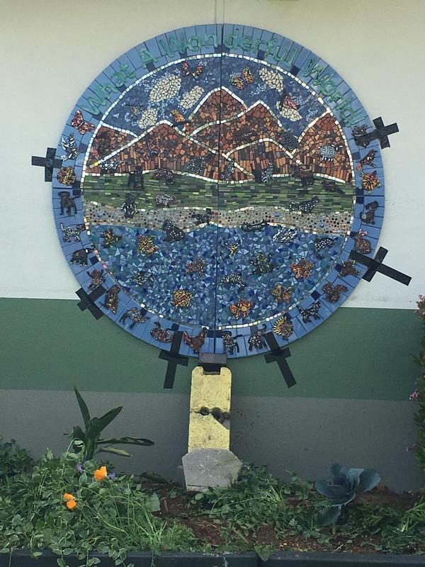 what a wonderful world mosaic mounted on wall