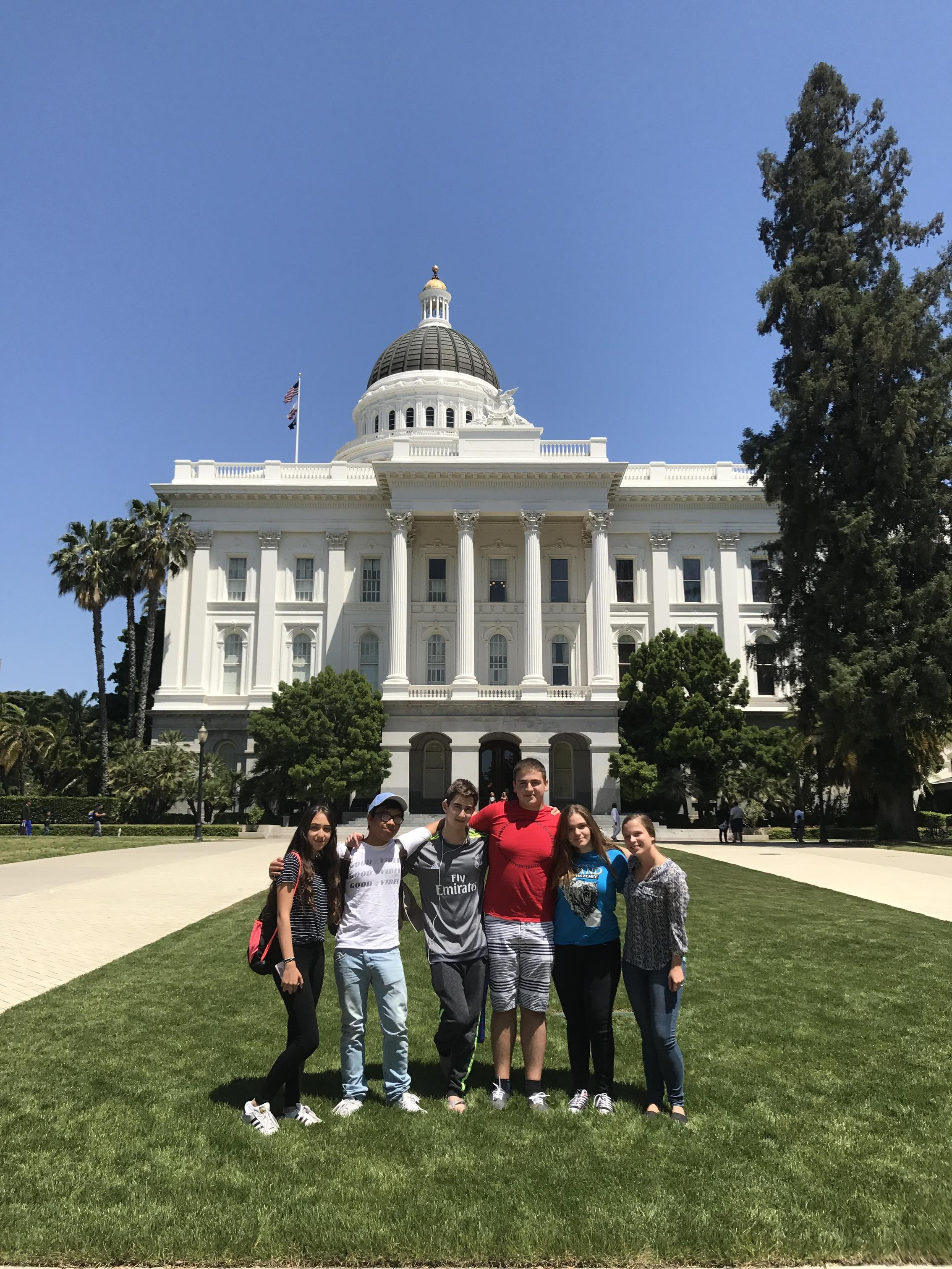 Students in front of state capital building