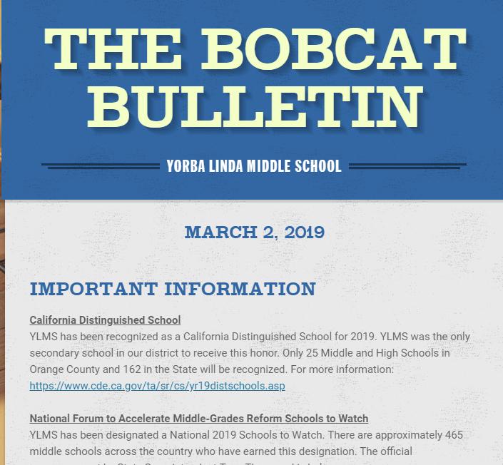 Bobcat Bulletin March 2nd