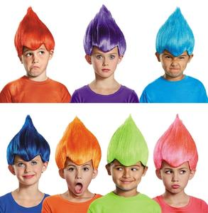 Children wearing colorful wigs