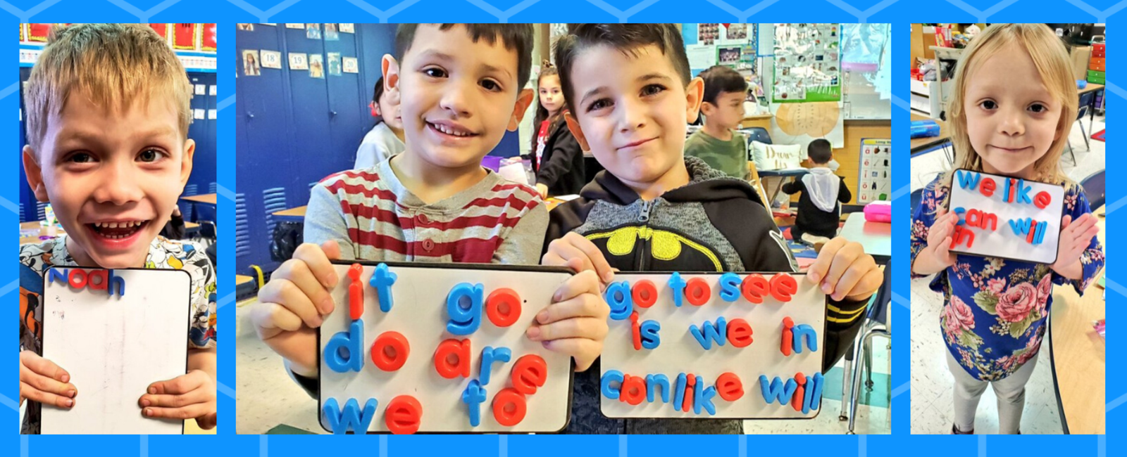 kindergarten students working on sight words