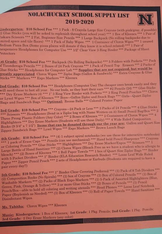 School Supply List page 2