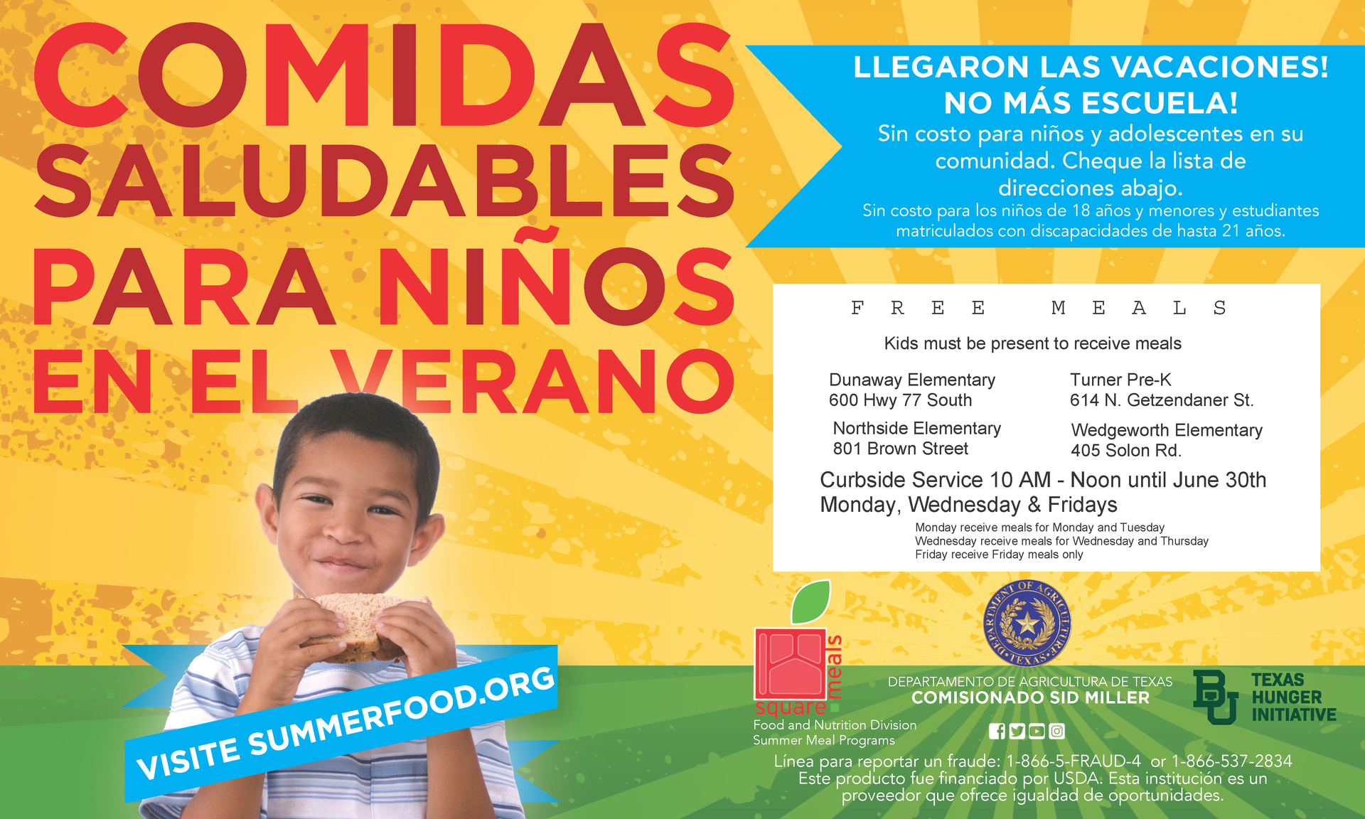 summer meals graphic in spanish with dates locations and times