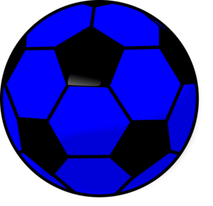 Clipart of a royal blue and black soccer ball.