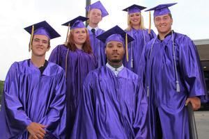 Pictured are some of the Lifelong Learning Center graduates who participated in the Class of 2019 Commencement Ceremony that was held on June 10th at the Fine Arts Center.    Pictured from left to right are:   Front row - Eric Craps, Antonio Gross Middle row - Megan Garcia, Kaleb Martell Back row - Adam Almgren, Drew Santamarina