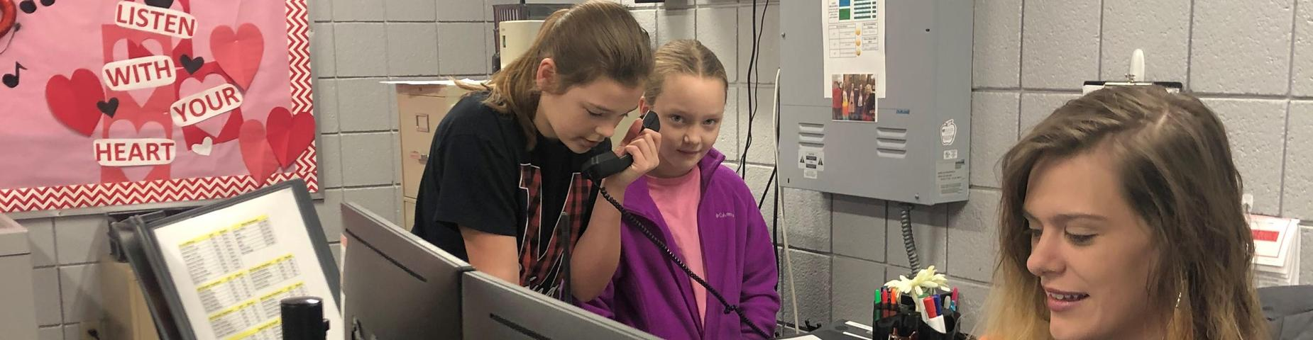 MMS students doing morning announcements.