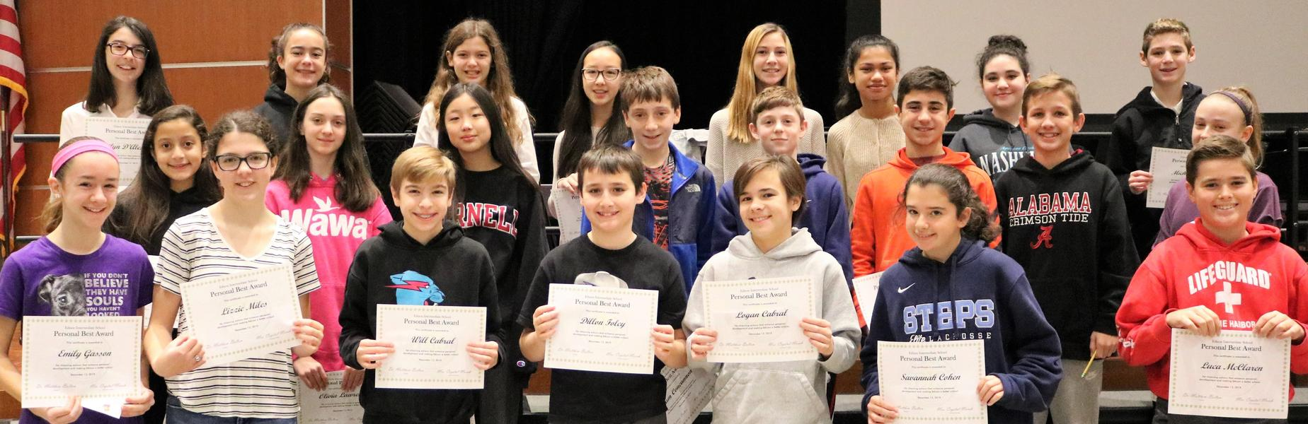 Photo of Edison 7th graders who received Personal Best Awards for good character and kindness.
