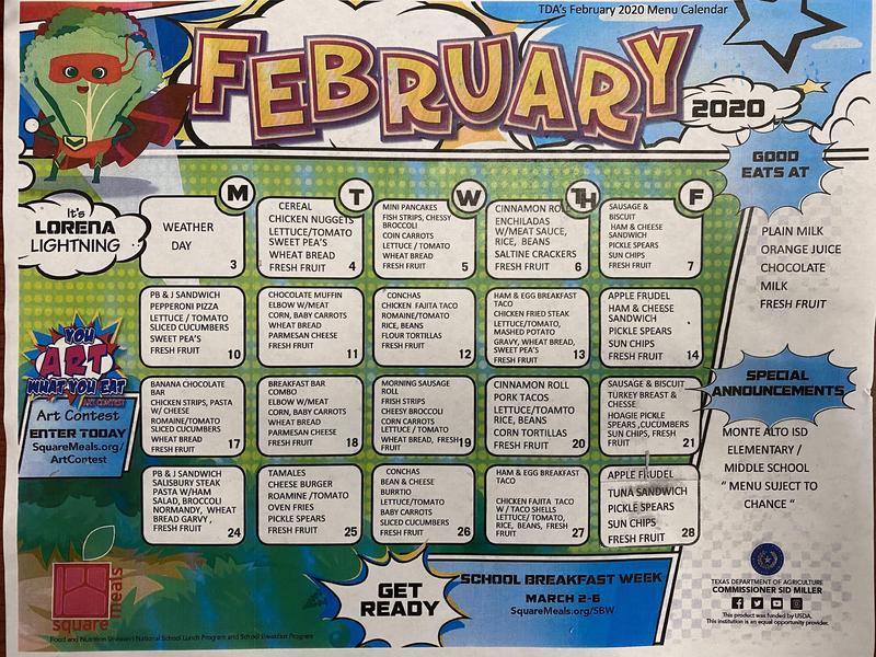 February menu calendar Featured Photo