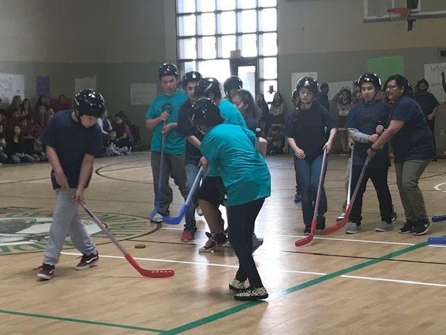 Mr. Pacheco's students at he annual Super Kids Hockey Tournament.