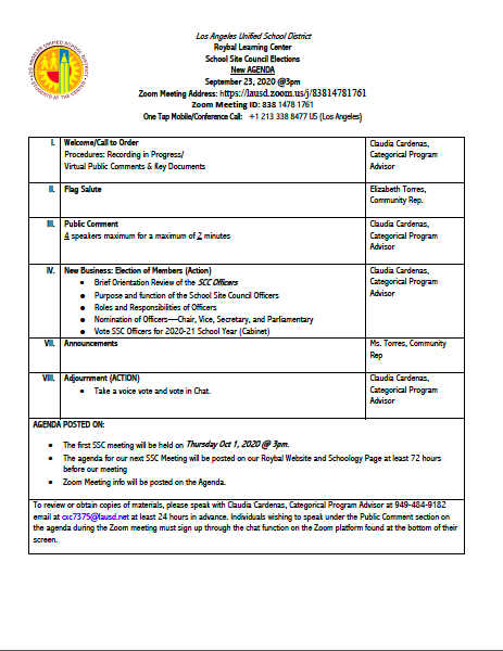 SCC AGENDA--Meeting will take place on Sept 23, 2020@3pm. Info below on AGENDA. Thumbnail Image