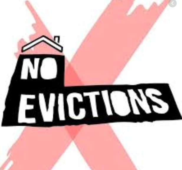 Red x with white text that reads No Evictions