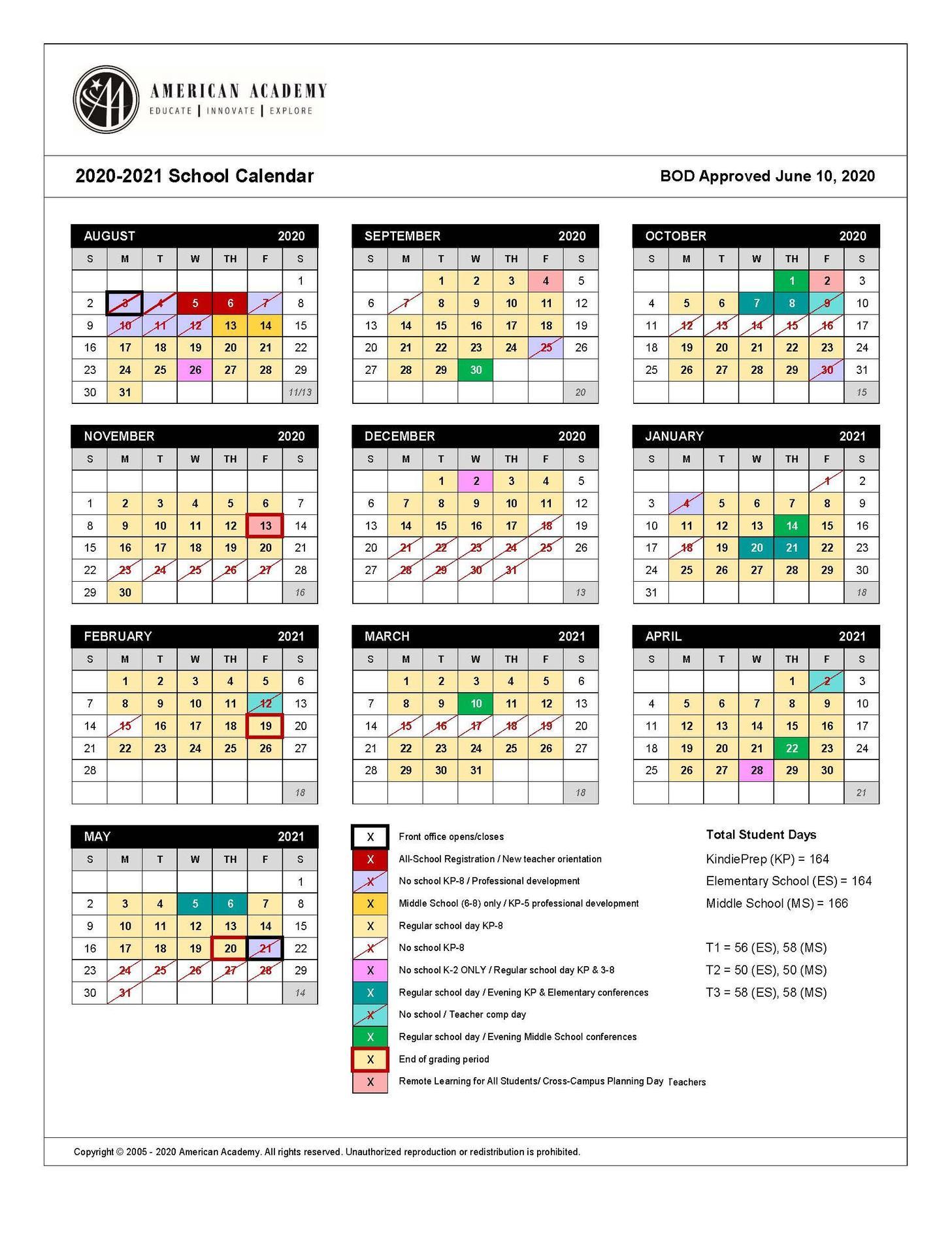 Picture of 20-21 School Calendar