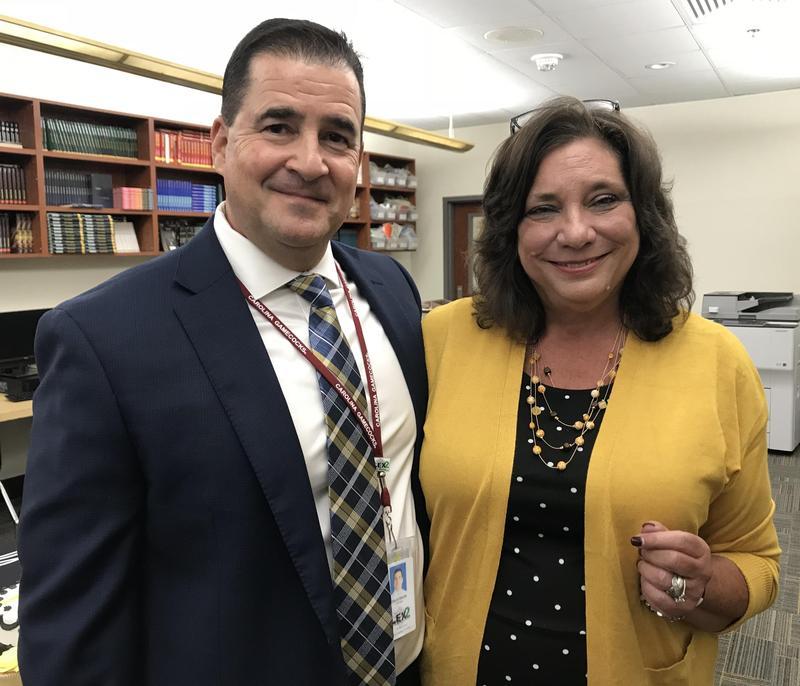 District Teacher of the Year Jennifer Eskridge, with Principal David Basile
