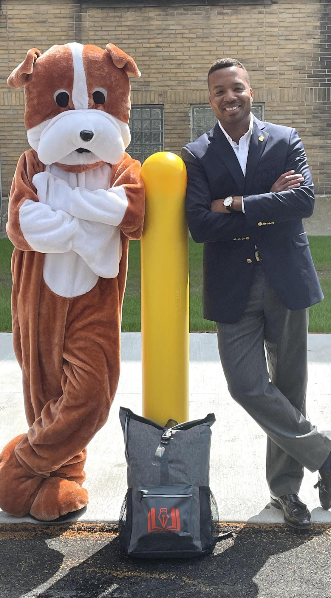 CEO with Mascot