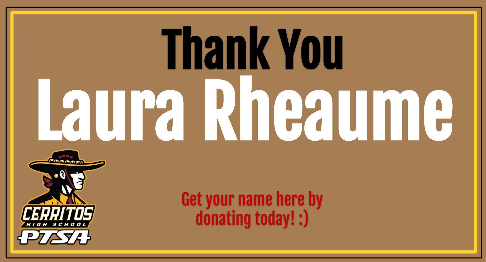 Thank you Laura Rheaume!
