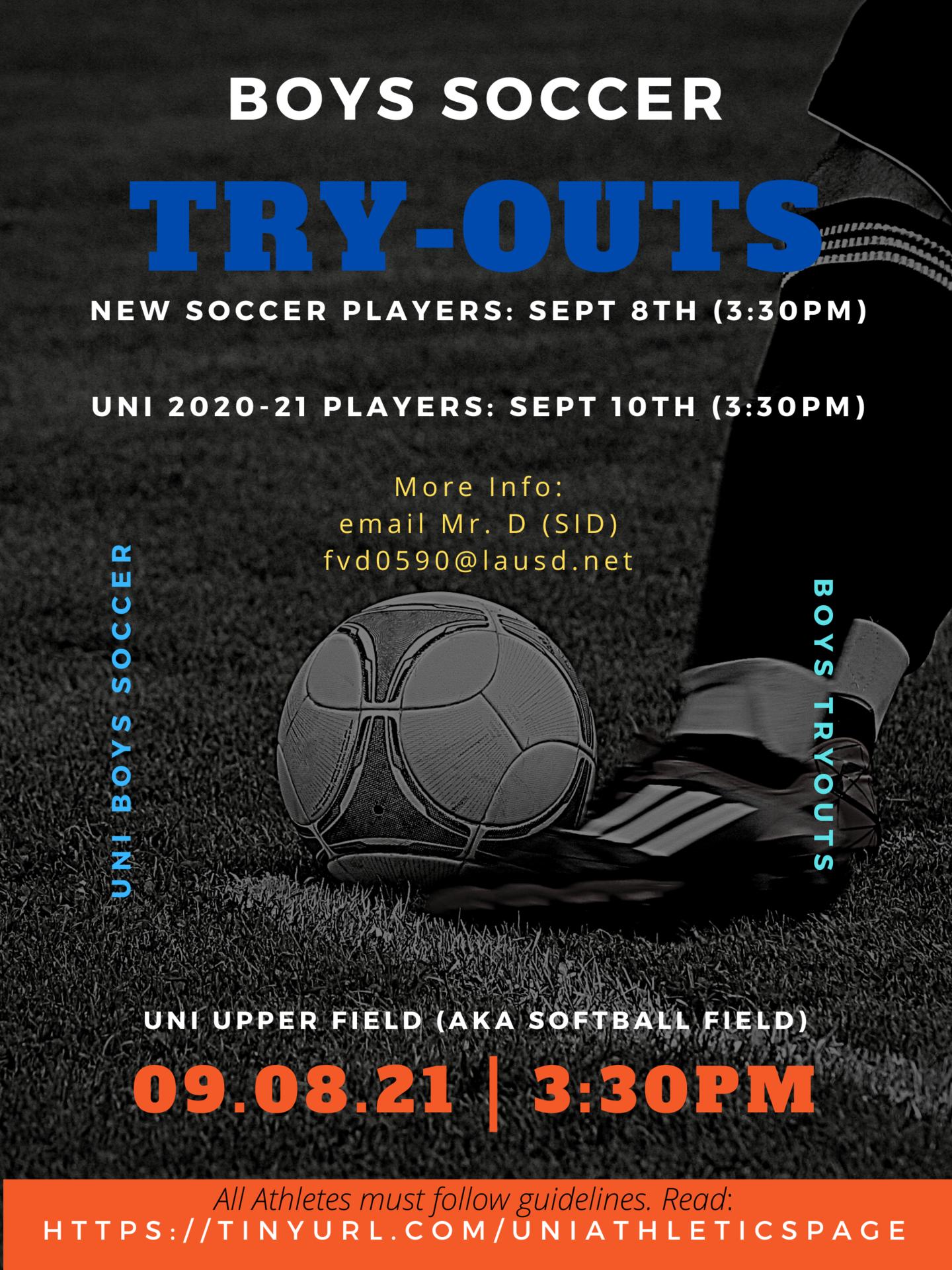 Boys Soccer tryouts - fall 2021