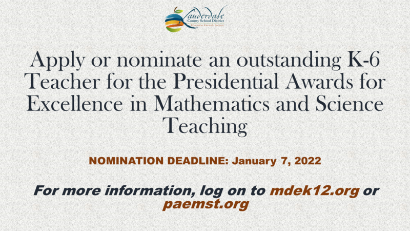 Presidential AWards for Excellence in Mathematics and Science Teaching
