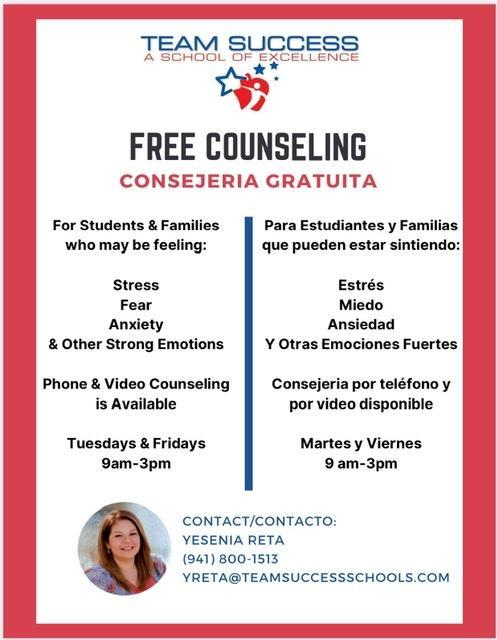 Free Counseling for Students and Families Featured Photo