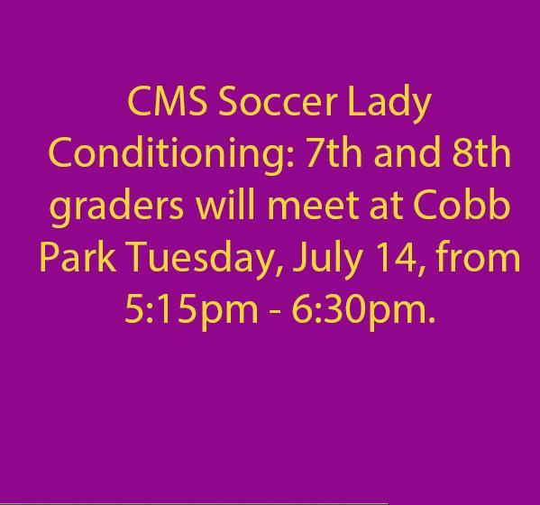 Soccer 7th and 8th grade Girls Update, July 14, 2020 5:15 to 6:30 at Cobb Park.