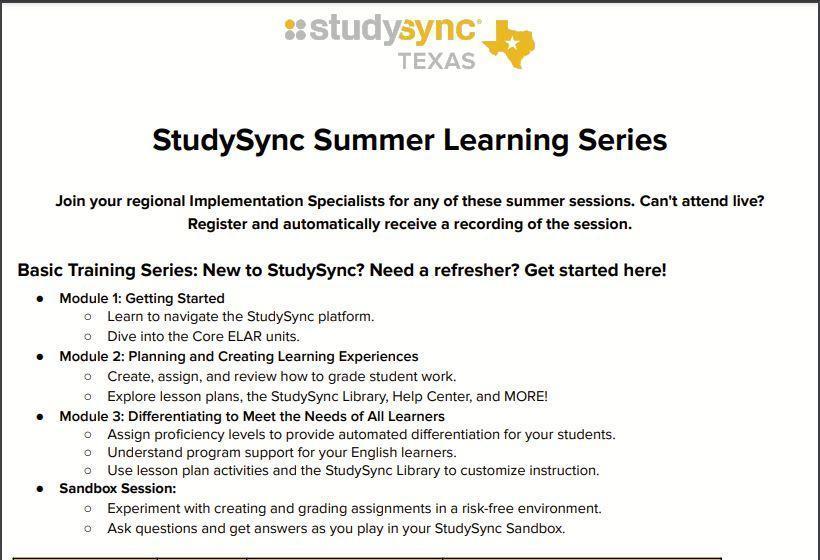 StudySync Learning Series Image