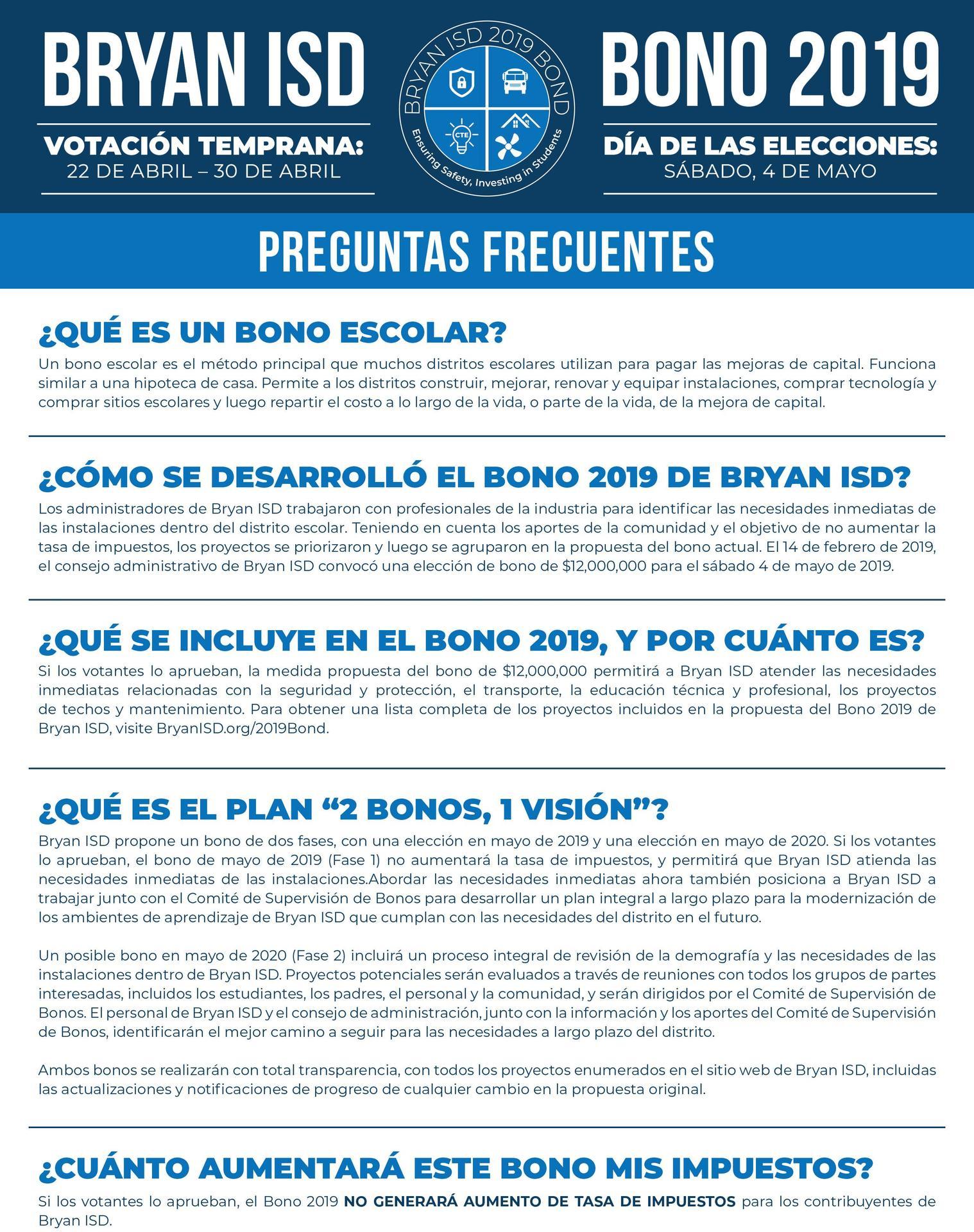 Bond FAQ in Spanish